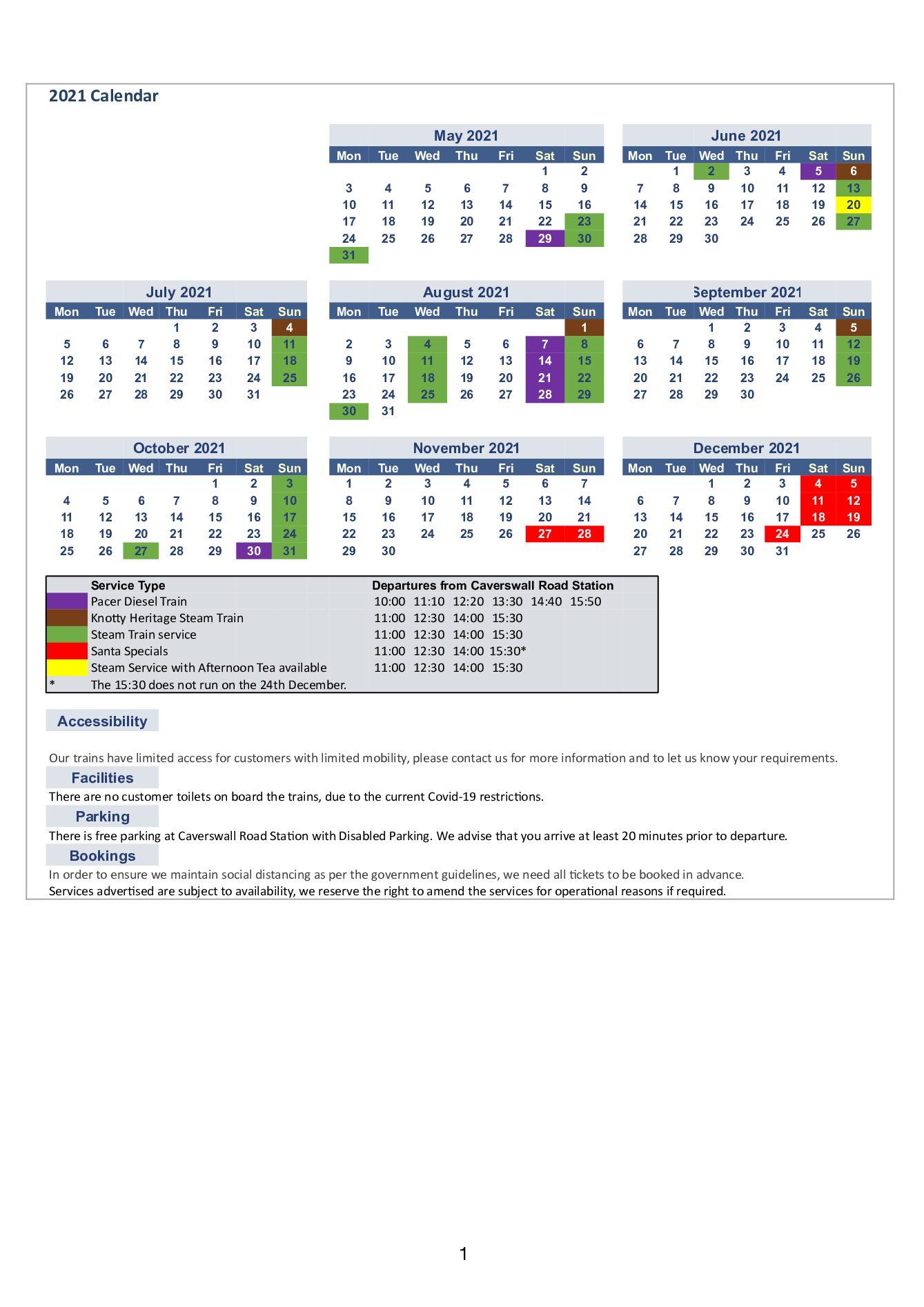 Foxfield Railway Timetable 2021